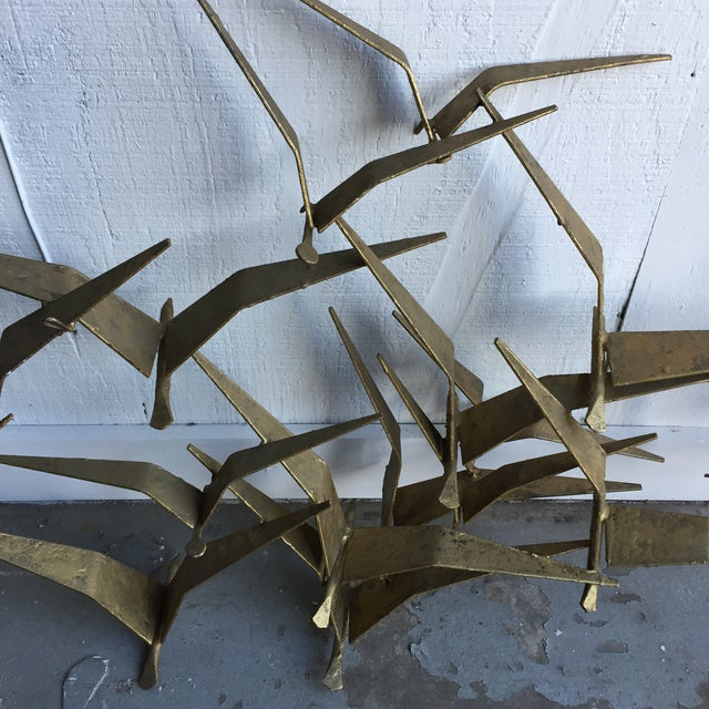"Curtis Jere Mid-Century ""Flock of Seaguls"" Brutalist Metal Wall Sculpture - Image 7 of 7"
