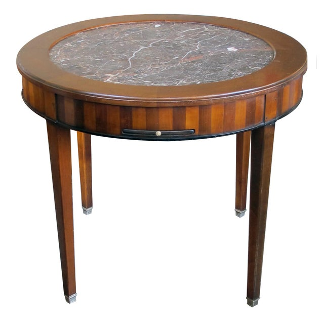 Wood Good Quality French De Bournay Cherry and Walnut Parquetry Game/Side/Center Table With Marble Top For Sale - Image 7 of 7