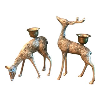 Vintage Brass Reindeer - a Pair For Sale
