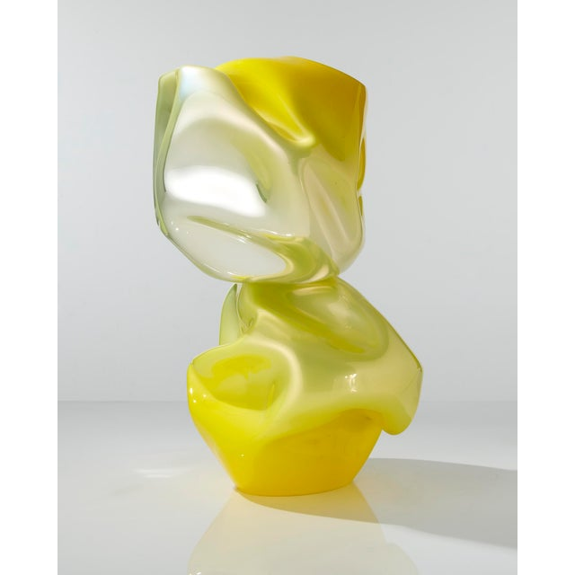 Unique crumpled sculptural double vessel in yellow mirrorized hand-blown glass with glass crystals. Designed and made by...