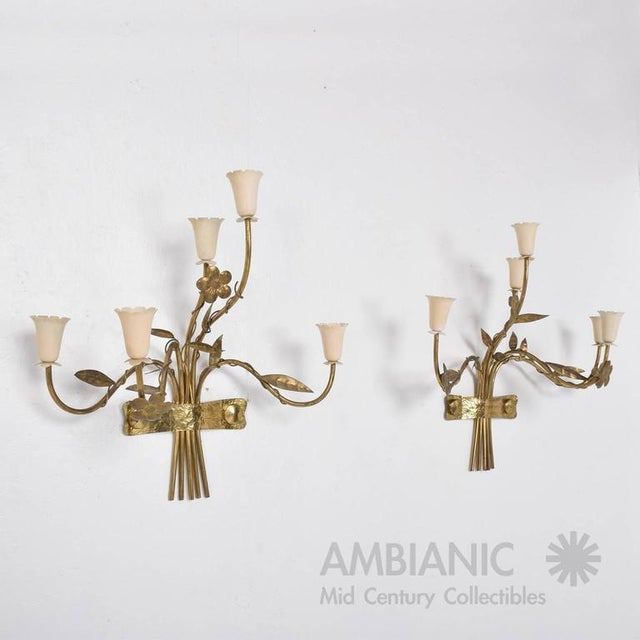 For your consideration a pair of Mid-Century Modern wall sconces. Made in Italy, circa 1950s. Five arms with beautiful...
