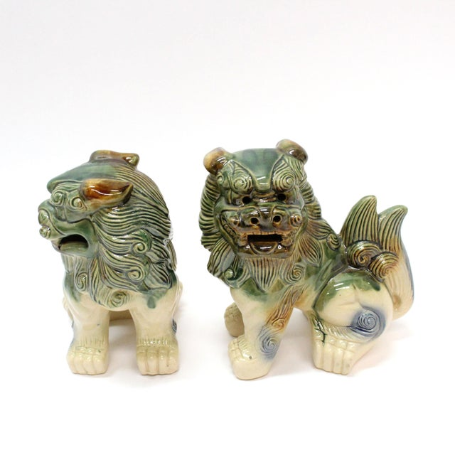 Modern Glazed Pottery Foo Dogs - A Pair For Sale - Image 4 of 4