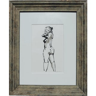 """Woman in Love"" Framed Ink Drawing For Sale"
