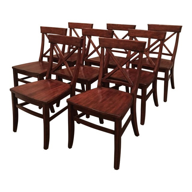 Aaron Wood Seat Chairs - Set of 8 For Sale