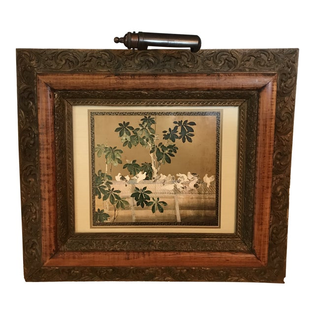 Antique Chinoiserie Panel Print in Wooden Frame For Sale