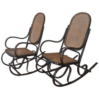 Pair of Bentwood Rocking Chairs With Cane Seat and Back For Sale