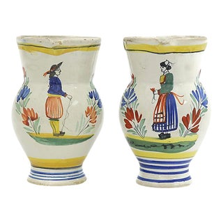 1930s French Quimper Pitchers, a Pair For Sale