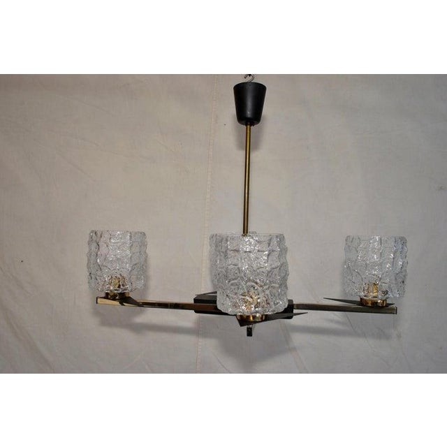1950s Midcentury French Chandelier with Glass Shades Design by Maison Arlus For Sale - Image 5 of 7