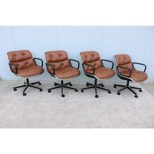 Brown Leather Knoll Pollock Executive Chair For Sale In New York - Image 6 of 13
