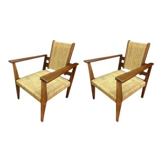 Victor Courtray Superb Design Pair of Modernist Rope Lounge Chair For Sale