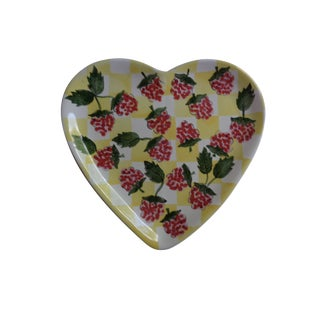 Vintage Hungarian Heart Plate With Raspberries For Sale