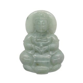 Hand Carved Chinese Natural Jade Jadeite Carved Kwan Yin Ornament Pendant For Sale