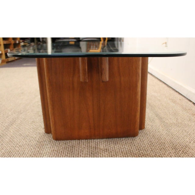 Danish Modern Teak Fishbone Glass Top Coffee Table | Chairish