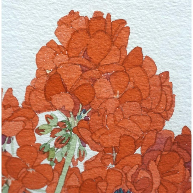 Large Framed Watercolor of Pink and Red Potted Geraniums by Gary Bukovnik For Sale In Denver - Image 6 of 13