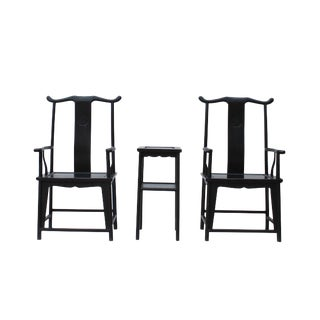 Chinese Traditional Tan Wood Yoke-Back Armchair Set W Small Table For Sale