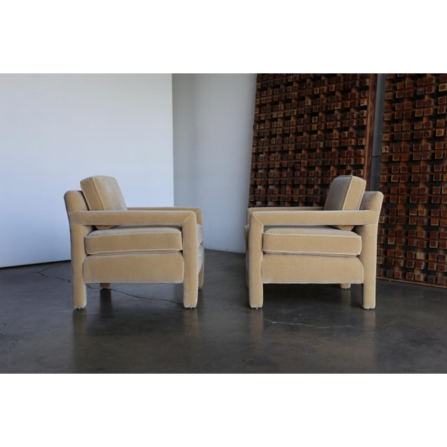 1970's Parsons Lounge Chairs in Mohair For Sale - Image 13 of 13