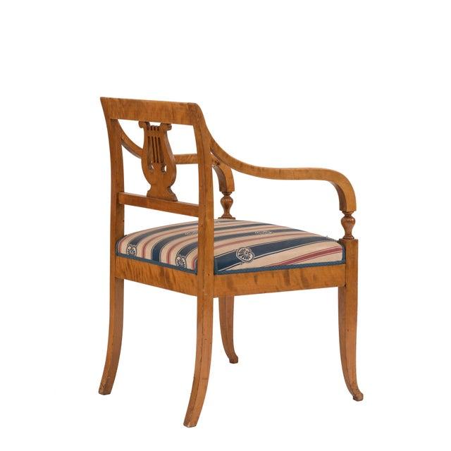 Swedish Biedermeier Birch Arm Chair For Sale - Image 4 of 6