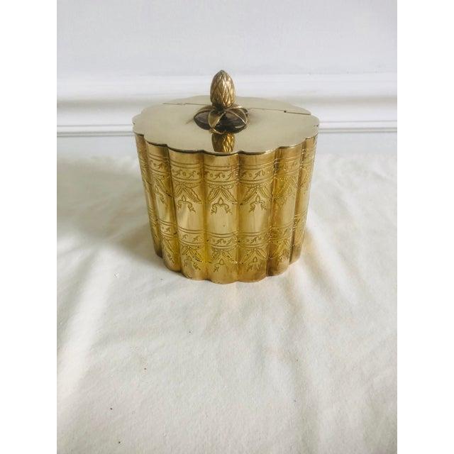 Gold 1970s Vintage Lidded Brass Trinket Box For Sale - Image 8 of 8