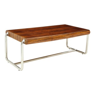 Pace Collection Executive Desk in Macassar and Chrome For Sale