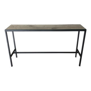 Industrial Metal Barn Wood Topped Console For Sale