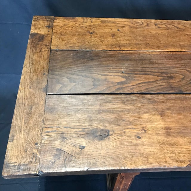 Early 19th Century Oak Farm Table With Sliding Drawers For Sale - Image 12 of 13