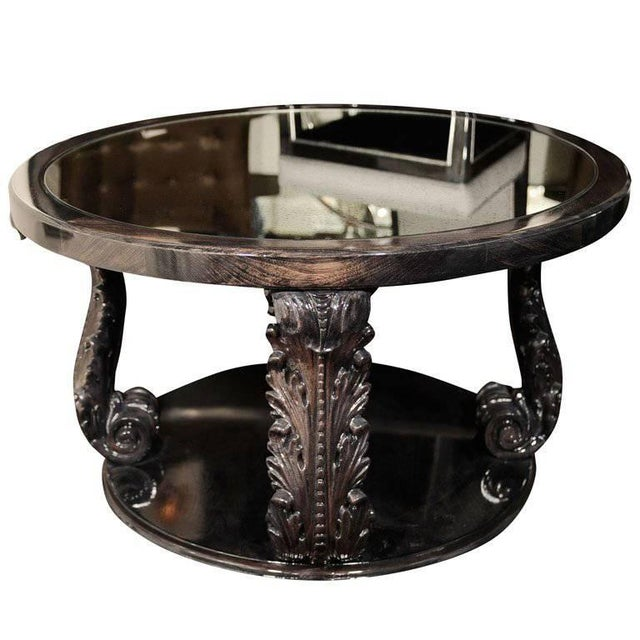 Glass Exceptional 1940s Occasional Table with Carved Plumes by Grosfeld House For Sale - Image 7 of 7
