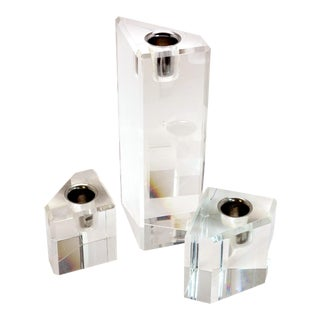 Mid-Century Modernist Angular Clear Lucite Candleholders — Set of 3 For Sale