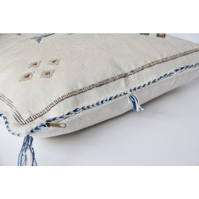 White Blue And Tan Cactus Silk Pillow - Image 3 of 4