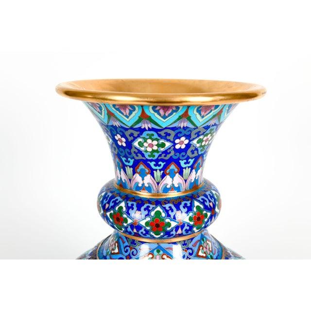 Metal Vintage Gilt Brass Interior Cloisonné Decorative Vase For Sale - Image 7 of 13