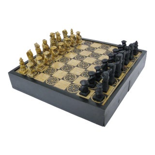 Carved Stone & Wood Chess Set For Sale