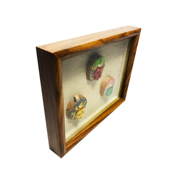 Asian Vintage Mid-Century Hand Painted Shiva Third Eye Sculptures Framed in Shadow Box For Sale - Image 3 of 4