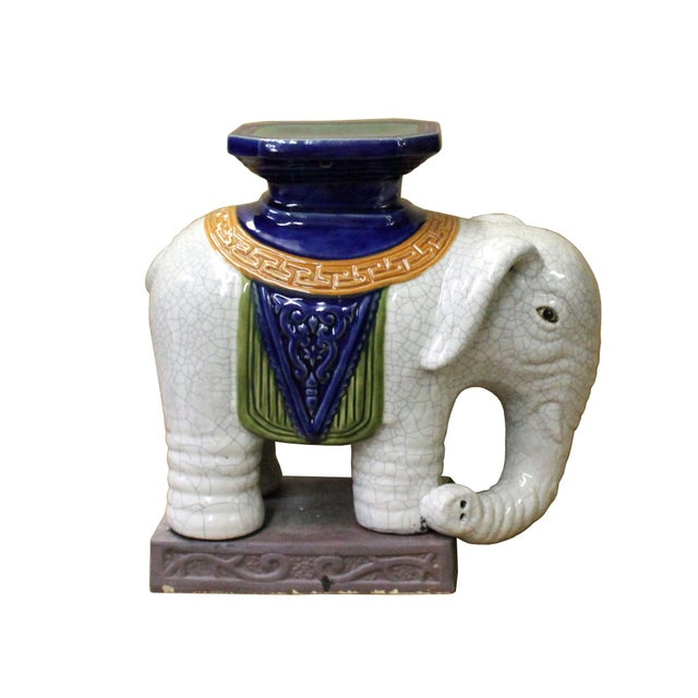 2010s Pair Ceramic Chinese Off White Oriental Elephant Pedestal Figures For Sale - Image 5 of 10