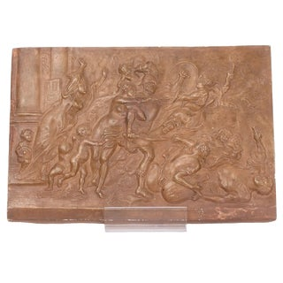 Vintage Italian Terracotta Bas-Relief Plaque For Sale