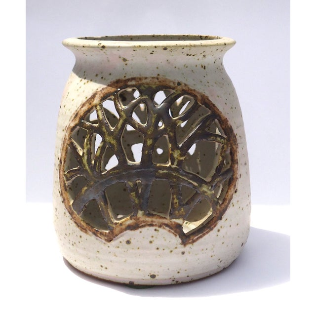 Vintage 1970s Pottery Reticulated Votive Holder - Image 2 of 6