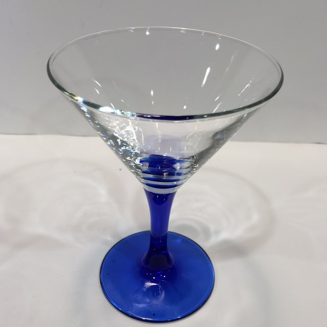 French Vintage French Blue Stemmed Crystal Martini Glasses - Set of 4 For Sale - Image 3 of 11