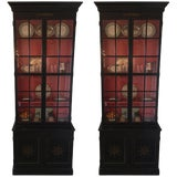 Image of Pair of Custom Made John Rosselli Ebony Display Cabinets, Mid-20th Century For Sale