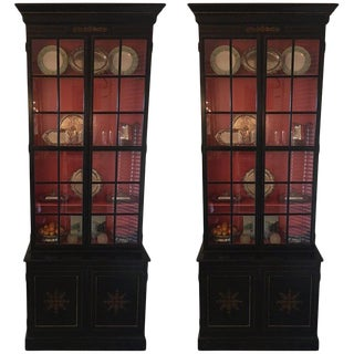 Pair of Custom Made John Rosselli Ebony Display Cabinets, Mid-20th Century For Sale