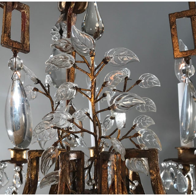 1930 French Gilt Tole & Crystal Chandelier For Sale - Image 4 of 11