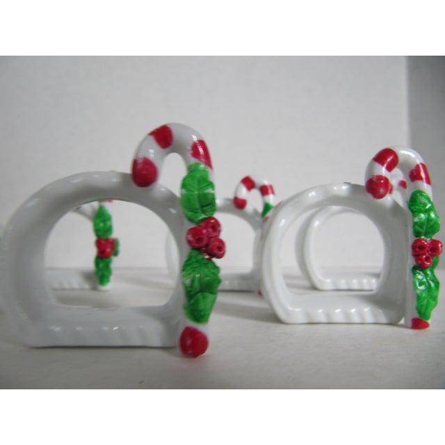 Porcelain Candy Cane Napkin Rings - Set of 8 For Sale - Image 4 of 4