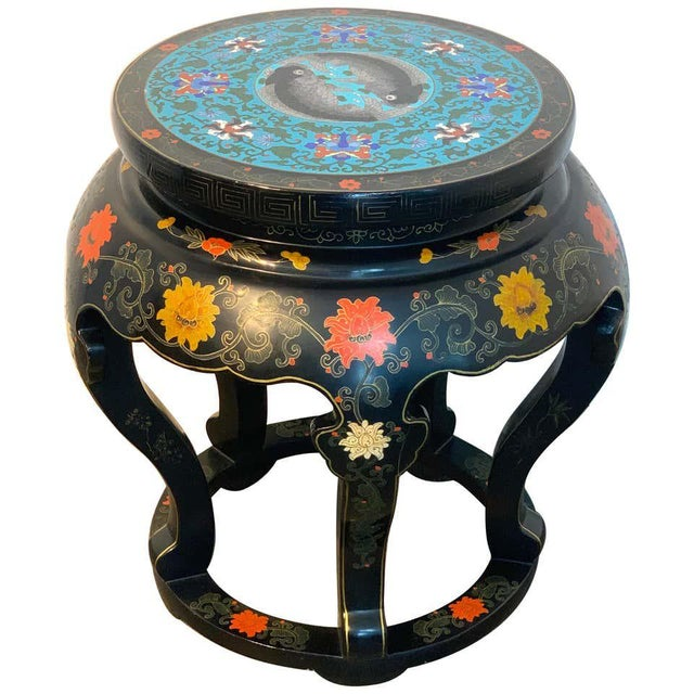 Chinese Export Black Lacquer and Cloisonné Koi Motif Table For Sale - Image 13 of 13