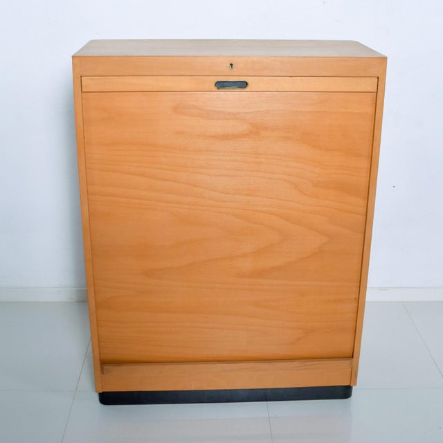1920s Bauhaus Filing Cabinet Locking Tambour Door by Adolf Maier Germany For Sale - Image 5 of 11