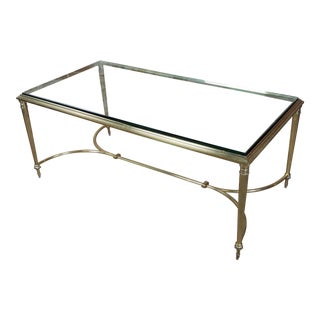 Vintage Regency Brass & Glass Top Coffee Table For Sale