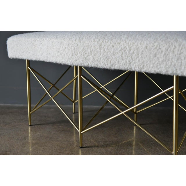 1970s 1970s Ivory Bouclé and Brass X-Base Ottoman Bench For Sale - Image 5 of 12