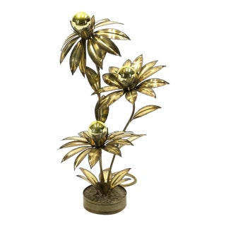 1970's Maison Jansen Brass Flower Floor Lamp For Sale