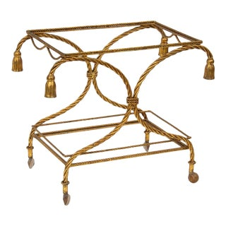 Italian Gilt Rope and Tassel Bar Cart For Sale