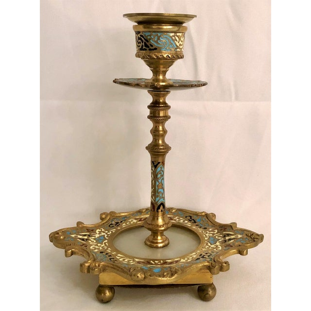 Pair Antique Cloisonne Onyx and Marble Candlesticks, Circa 1860-1870.