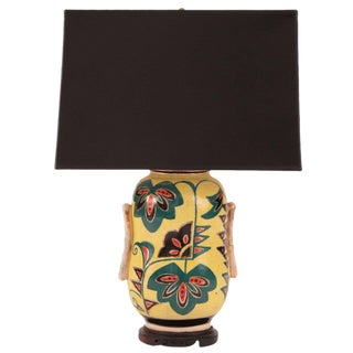 Painted Porcelain and Ebonized Wood Japanese Lamp For Sale