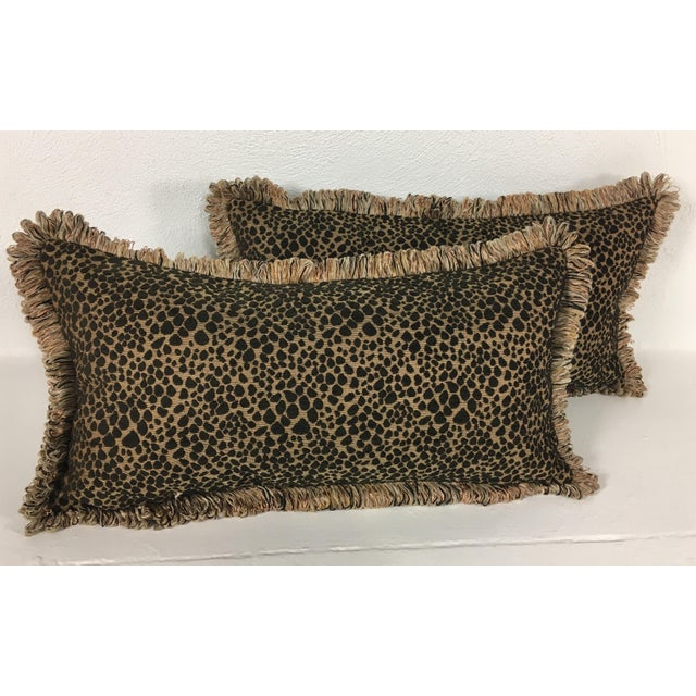 This is a pair of Italian chenille faux leopard pillows with fringe and chenille reverse. A very rich color scheme with a...