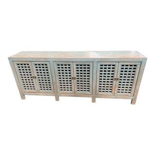 Distressed Blue Lattice Door Sideboard For Sale