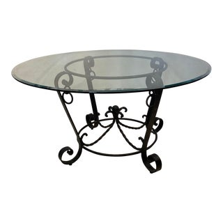 1970s Wrought Iron Center Table Style of Poillerat For Sale